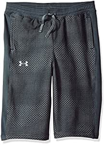 Under Armour Boys' Threadborne FT Shorts, Stealth Gray (008)/Neon Coral, Youth X-Small