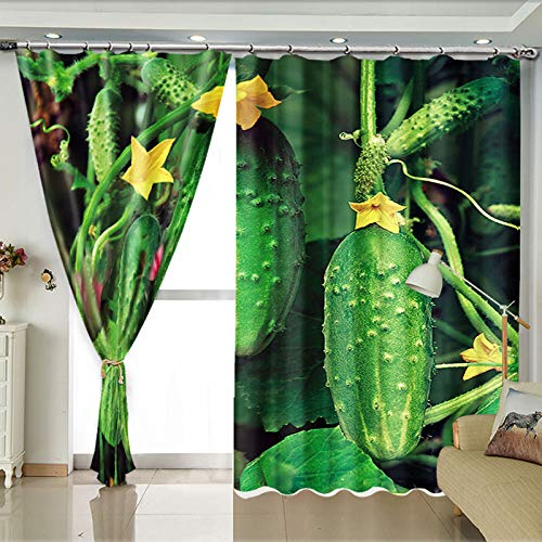 ZZHL Curtains Curtains,Hooks Rings Thermal Insulated Bedroom Blackout for Livingroom Kitchen 2 Panels Vegetables (Size : 150x270cm) by ZZHL (Image #2)