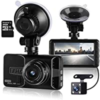 ULU 1080P Dash Cam Front and Rear 290° Super Wide Angle Dual Lens Car DVR Dashboard Camera Recorder with 16GB Card, 3 Inch Screen, G-Sensor, WDR, Loop Recording,Car Black Box
