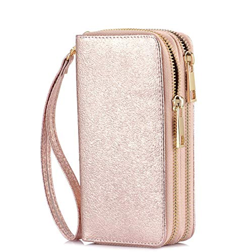 HAWEE Cellphone Wallet Dual Zipper Wristlet Purse with Credit Card Case/Coin Pouch/Smart Phone Pocket Soft Leather for Women or Lady, Rose -