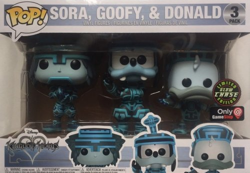 Funko Pop Disney Kingdom Hearts - Sora Goofy Donald Tron Exclusive 3 Pack Glow in the Dark Chase