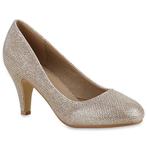 Stiefelparadies Damen Stiletto Pumps High Heels Glitzer Party Flandell Gold Muster