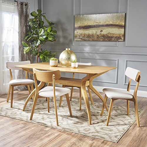 Christopher Knight Home Nerron Mid Century Natural Oak Finished 5 Piece Wood Dining Set with Light Beige Fabric Chairs