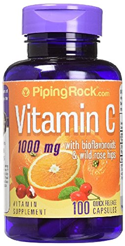 Piping Rock Vitamin C 1000 mg with Bioflavonoids & Wild Rose Hips 100 Quick Release Capsules Vitamin Supplement