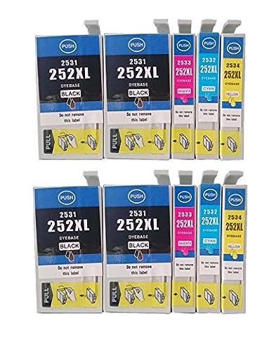 Ouguan Ink Remanufactured Epson 252 / 252XL / T252 / T252XL Set of 10 High Yield Ink Cartridges (4Black, 2Cyan, 2Magenta & 2Yellow) for use in WorkForce WF-3620, WF-3640, WF-7110, WF-7610 & (Printer Cartridges Wf 3640)