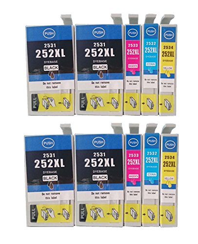 Colour-Store 10 Packs Remanufactured 252XL Ink Cartridges (4 Black, 2 Cyan, 2 Magenta, 2 Yellow) Color Set Use for Workforce WF-3630 3640 3620 7610 7620 7110