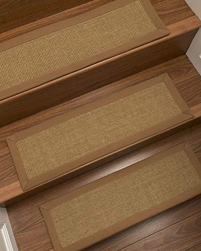 NaturalAreaRugs 100% Natural Fiber Moda, Sisal Light Brown, Handmade Custom Stair Treads Carpet Set of 13 (9
