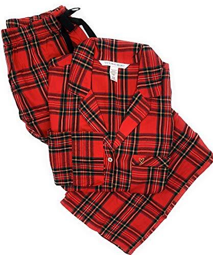 Victoria's Secret Women's Lightweight Cotton Flannel Pajamas Red Plaid Small ()
