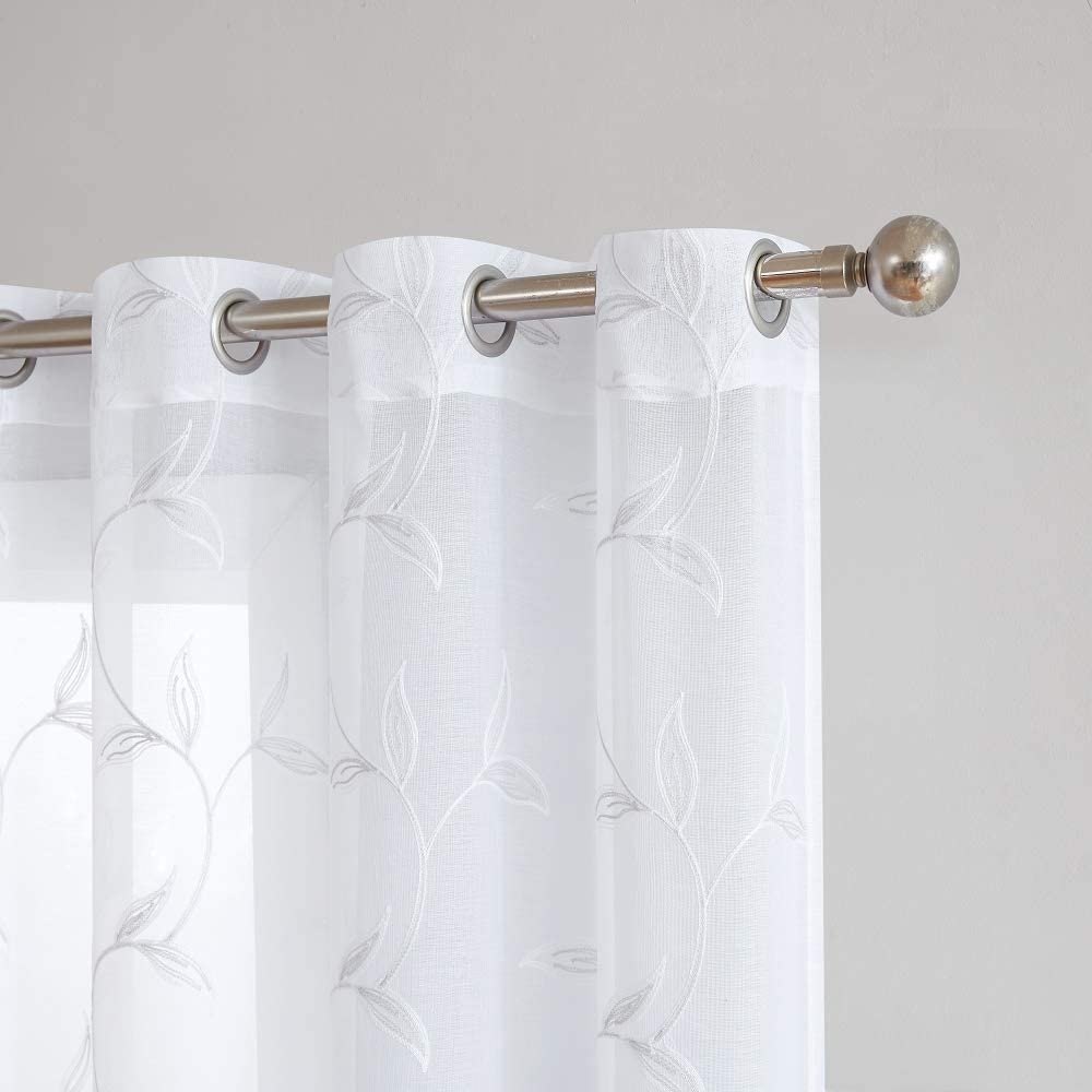 "WARM HOME DESIGNS Pair of 2 Sheer White Faux-Linen Standard Size Curtain Panels with Beautiful Light Grey Stitched Leaf Embroidery. Each Grommet Drape is 54"" (Width) x 84"" (Length). M Silver 84"""