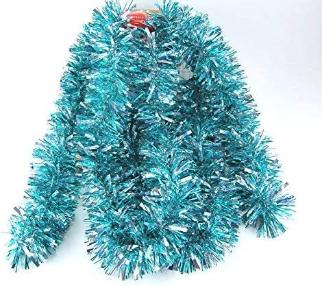 Fix Find - Aqua & Holo Silver Tinsel Garland (10ft Long x 3in Thick) - Elegant Hanging Metallic Holiday Tinsel Garland for Holiday & Party Decorating