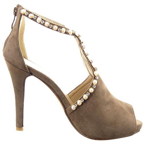 11 haut femmes Chaussure Escarpin Soirée Talon Cheville Sopily Mode Perle CM Bijoux aiguille Khaki Ouverte Stiletto POAx0qw