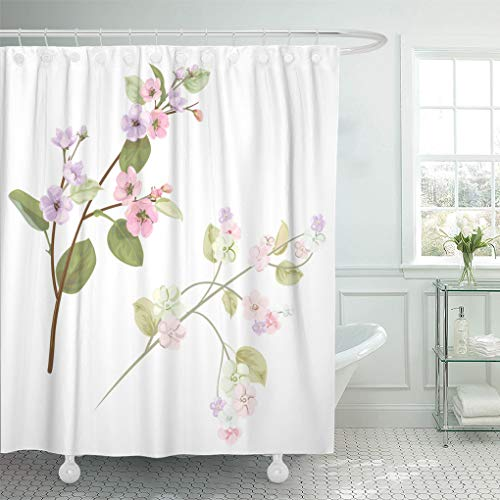 Emvency Shower Curtain Spring Blossom Bloom Branches Mauve Pink Apple Tree Flowers Shower Curtains Sets with Hooks 72 x 78 Inches Waterproof Polyester Fabric