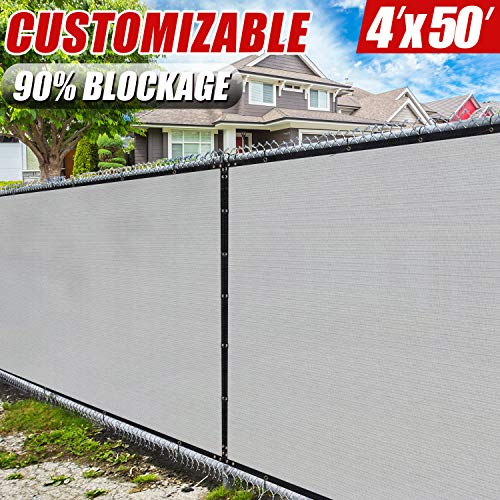 (Amgo 4' x 50' Grey Fence Privacy Screen Windscreen,with Bindings & Grommets, Heavy Duty for Commercial and Residential, 90% Blockage, Cable Zip Ties Included, (Available for Custom Sizes))