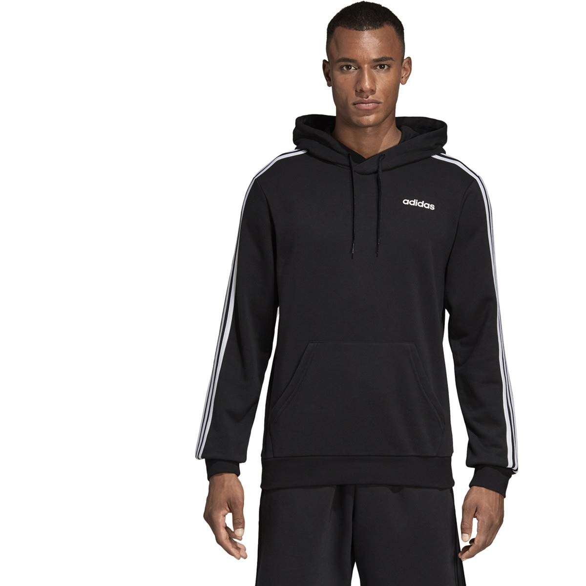 adidas Essentials Men's 3-Stripes Hoodie, Black/White, 4X-Large by adidas