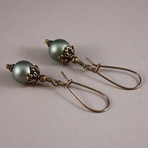 Pierced earrings Vintaj natural brass kidney wires and Powder Green pearls