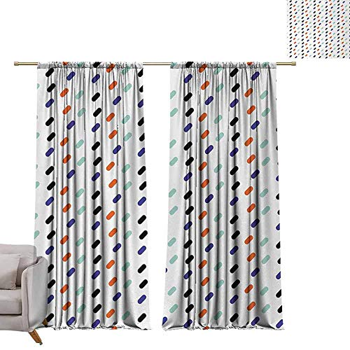 berrly Grommet Top Drapes Abstract,Diagonal Oval Geometric Motif Modern Urban Style Colorful Graphic Illustration,Multicolor W72 x L108 Living Room Drapes