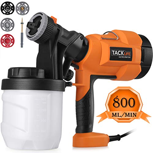 Hvlp Paint Sprayer 800ml/min, Electric Spray Gun with 3 Spray Patterns, 4 Nozzle Sizes, Adjustable Valve Knob, Quick Refill Lid and 900ml Detachable Container (Best Hvlp Spray Gun For Latex Paint)