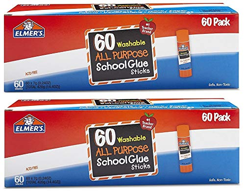 Elmers All Purpose School Glue Sticks, Washable, 0.24-ounce sticks, 120 Count