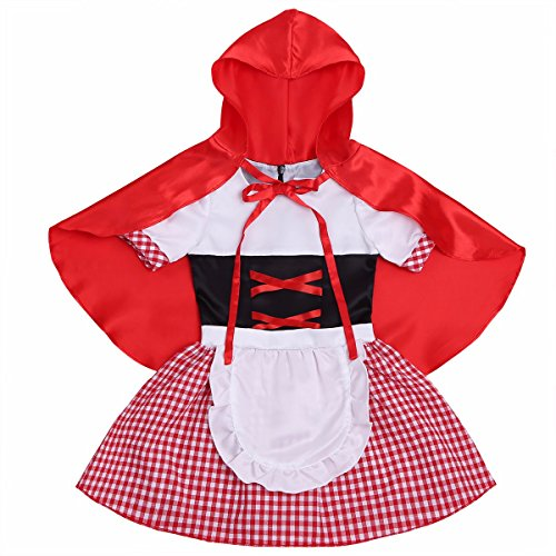 Red Riding Hood Baby Costumes (FEESHOW Baby Girls Little Red Riding Hood Halloween Costumes Cosplay with Cloak Red 12-18 Months)