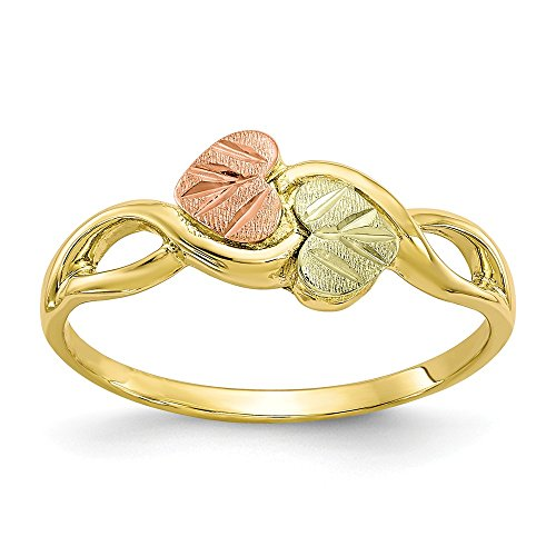 10k Tri Color Black Hills Gold Band Ring Size 6.00 Flowers/leaf Fine Jewelry Gifts For Women For Her (Black Hills Gold Set Jewelry Set)