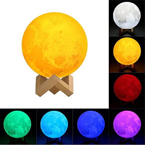 3D Printing Moon Lamp, ICOCO Lunar Luna Moonlight 3 Tone 7 Colors Touch Control Brightness Night Light with Lamp Holder for Home Decoration & Christmas Gifts (5.9 Inch)