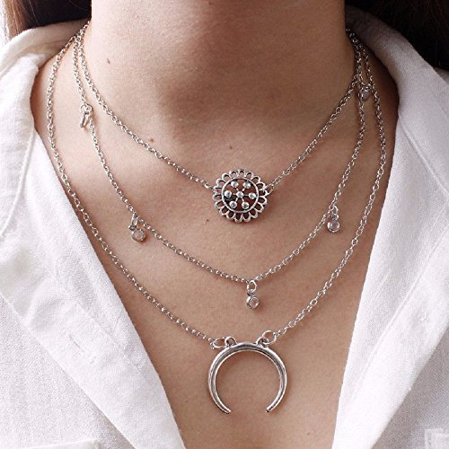 Wcysin Women Girls Dual Layer Pendant Necklace Fashionable Chain Choker Necklace ()