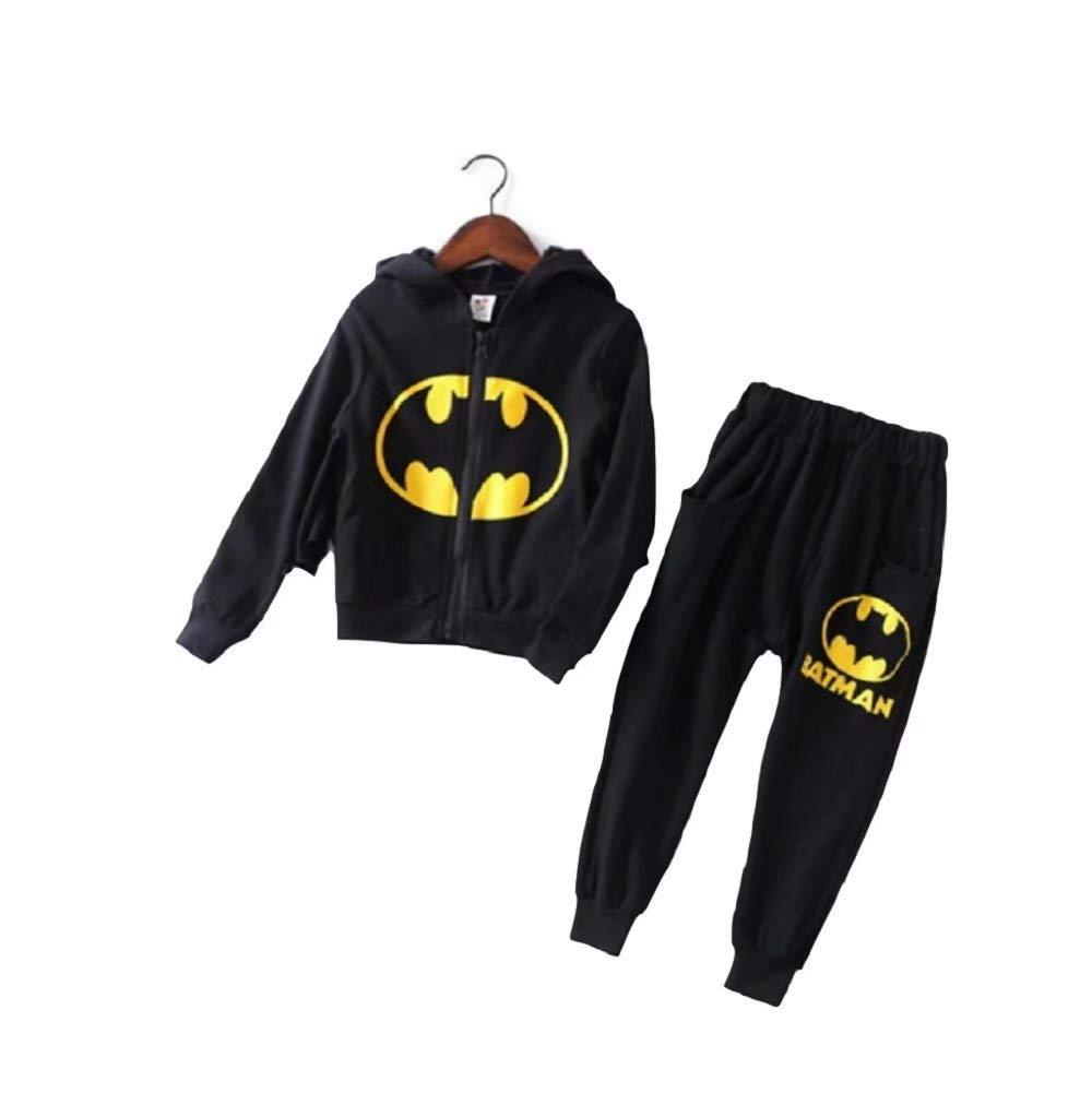 Kids Boys Girls Batman Clothes Set Toddler Boys Batman Jogger Set - DC Comics Batman Hoodie & Sweatpants Set(Black,110cm)