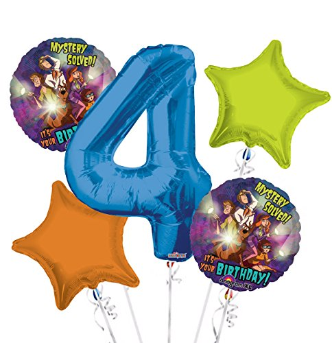 Scooby Doo Balloon Bouquet 4th Birthday 5 pcs - Party Supplies