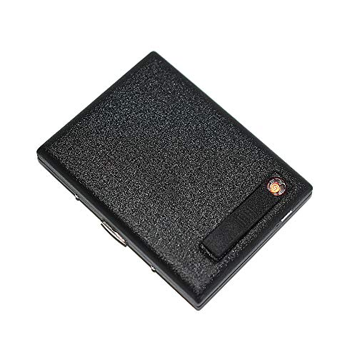 KAKAKA Hold 20 Regular Cigarettes Metal Case/Box with Lighter USB Rechargeable, Flameless, Windproof (Black Frosted)