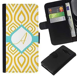 A-type (A Initial Teal Green Gold Pattern) Colorida Impresión Funda Cuero Monedero Caja Bolsa Cubierta Caja Piel Card Slots Para Samsung Galaxy Core Prime