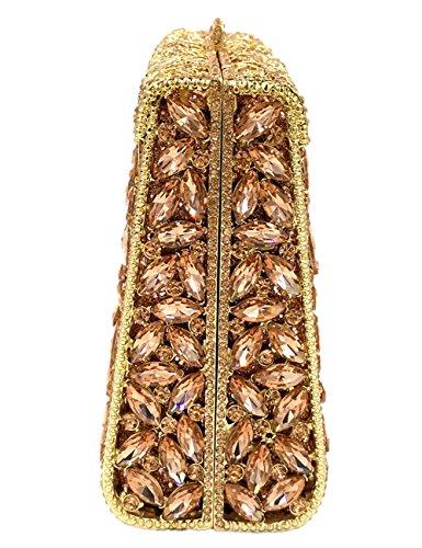 Cristales Bolsas Carteras Noche Mano Gold Cadena Bolso Mujer Partido Brillo Embrague Nupcial Negro nH1U8Xt
