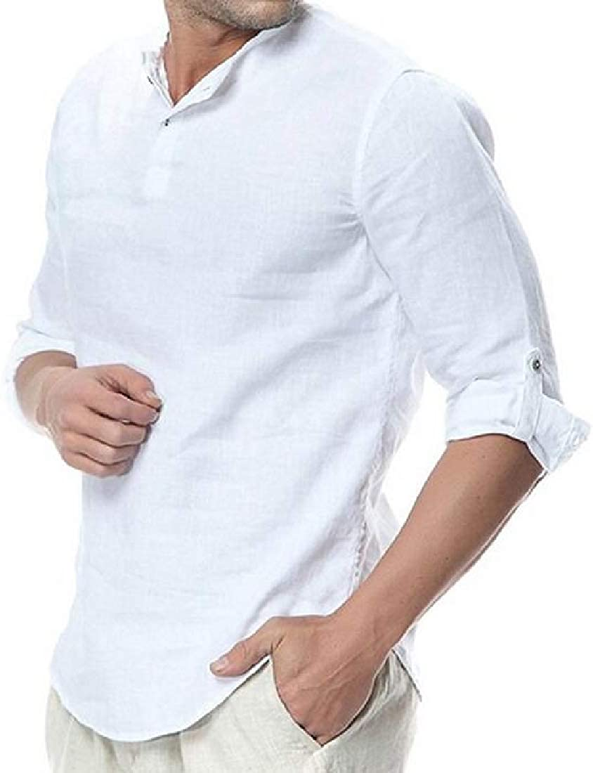 YYG Men Linen Basic Stand Collar Solid Color Roll Sleeve Shirts