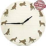 GERMAN SHEPHERD Non-Ticking Wooden Wall Clock