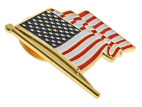 Antek ONE DAY SALE American Flag Pin For Suit Made In USA Lapel Pin (10 Pins) By Gold American Flag Pin