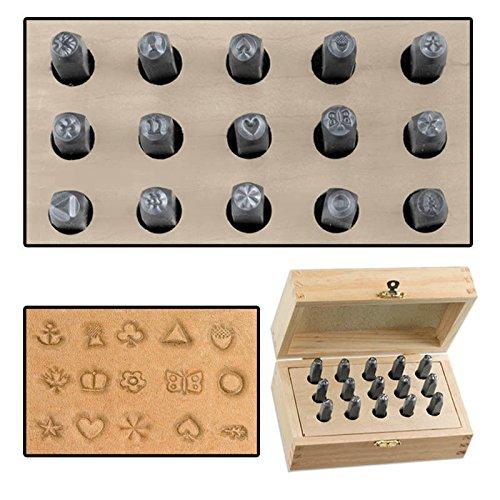 Generic O-8-O-1962-O /4'' Ste Leather Craft Wood od Work Set Wood Case er Craf 15pc Pattern d Case Work 1/4'' Steel Punch Stamp Punch HX-US5-16Mar28-659
