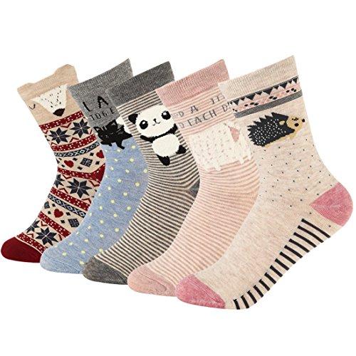 Women Crew Socks Cartoon Funny Animal PatternLow Cut Ankle Socks 5 Pack