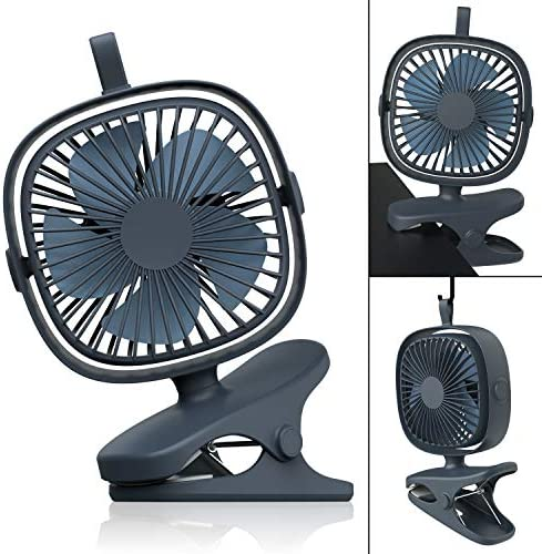 MiiKARE 3 in 1 Clip Fan, Mini Desk Fan with 4 Speed Natural Wind Mode 360 Degree Rotation, Portable USB Rechargeable 2000mAh Battery Operated Personal Fan for Baby Stroller Table Office Camping Dorm