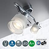 LED Bathroom Ceiling Light I Pivotable and Rotatable I Metal Glass Exterior I Chrome Design I Splash Water Proof I 2 x 5 W illuminant I 230 V I GU10 I IP44