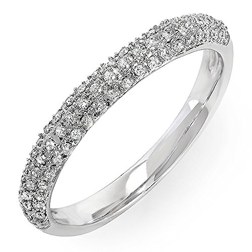 Dazzlingrock Collection 0.25 Carat (ctw) 10k Round Diamond Ladies Pave Anniversary Wedding Band Stackable Ring 1/4 CT, White Gold, Size ()