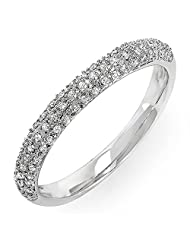 0.25 Carat (ctw) 10k White Gold Round Diamond Ladies Pave Anniversary Wedding Band Stackable Ring 1/4 CT (Size 5)