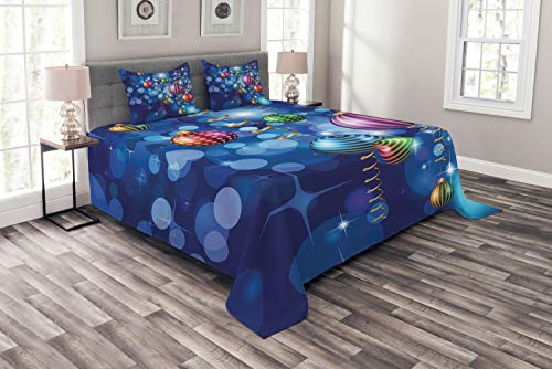 Ambesonne Christmas Bedspread, Happy New Year Party Celebrations with Swirling Ornaments and Balls Print, Decorative Quilted 3 Piece Coverlet Set with 2 Pillow Shams, Queen Size, Multicolor