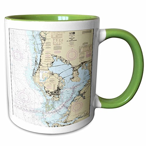 3dRose Florene - Nautical Map Décor - Print of Nautical Map Of Tampa Bay - 11oz Two-Tone Green Mug - Tampa Map Outlets