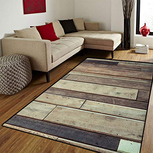 (Wooden,Door Mat Outside,Antique Planks Flooring Wall Picture American Style Western Rustic Panel Graphic Print,Door Mats for Inside Non Slip Backing,Brown,6.6x8 ft)