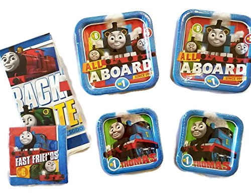 Thomas The Train All Aboard 9'' Plates (16) 7'' Plates (16) Napkins (32) Table Cover (1) by Celebration Party Supply (Image #1)