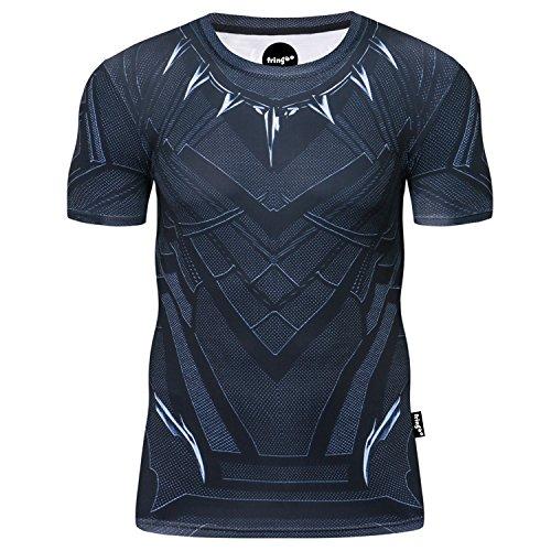 Fringoo® Mens Compression Superhero T-Shirt Base Layer Gym Short Sleeve Running Thermal Workout Top