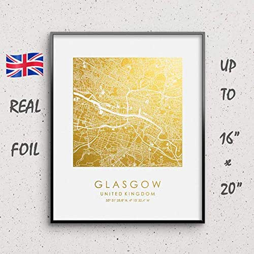 Amazon.com: Glasgow Map Print Gold & Silver Foil Print