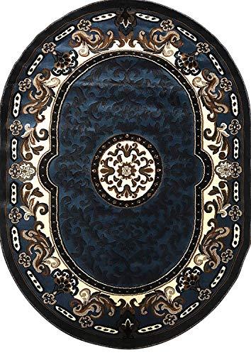 - Kingdom Traditional Oval Persian Area Rug Blue Brown Design D123 (5 Feet 2 Inch X 7 Feet 1 Inch)