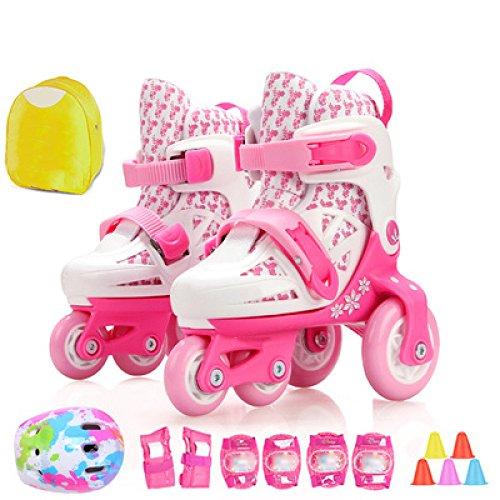 鷲執着コインdsfgheローラースケート男の子女の子幼児調節可能な4ホイールInline Skates子供初心者PVCホイールトリプルロックメッシュ通気性スケート靴保護セット3 – 8 Years Old 07230