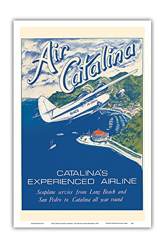 Santa Catalina Island, California - Grumann Goose Airplane - Air Catalina Airline - Vintage Airline Travel Poster by Gary Miltimore c.1970s - Master Art Print - 12in x 18in