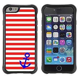 Suave TPU GEL Carcasa Funda Silicona Blando Estuche Caso de protección (para) Apple Iphone 6 / CECELL Phone case / / White Stripes Lines Blue Anchor Sailor /